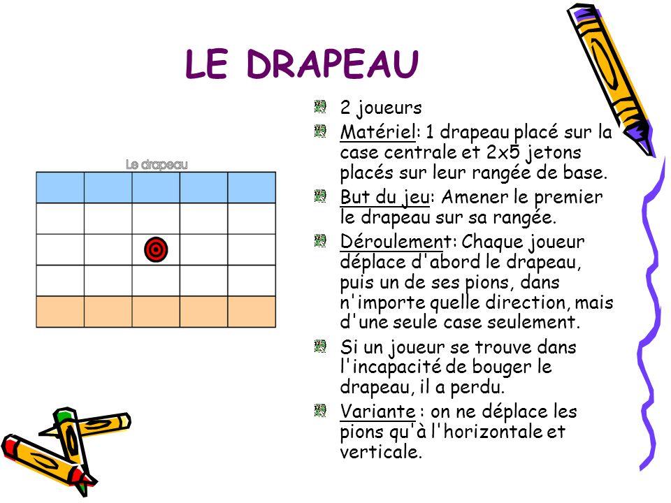 LE DRAPEAU2 joueurs. Matériel: 1 drapeau placé sur la case centrale et 2x5 jetons placés sur leur rangée de base.