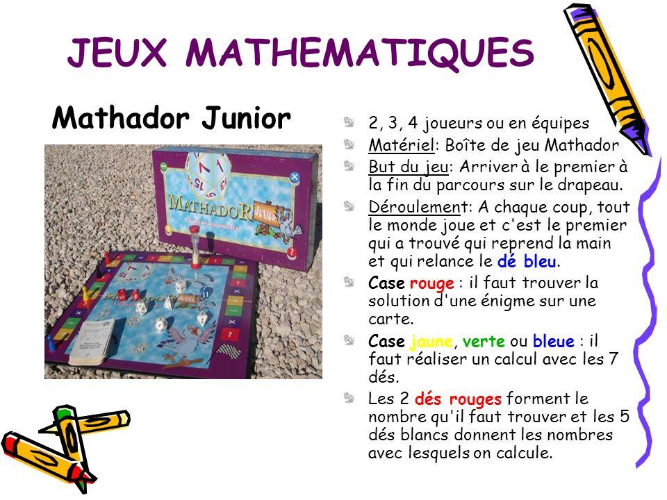 JEUX MATHEMATIQUES Mathador Junior 2, 3, 4 joueurs ou en équipes