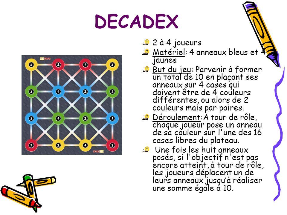 DECADEX 2 à 4 joueurs Matériel: 4 anneaux bleus et 4 jaunes