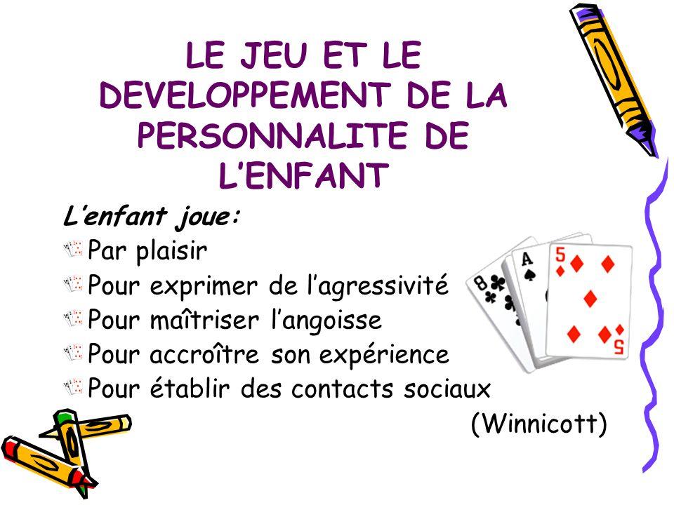LE JEU ET LE DEVELOPPEMENT DE LA PERSONNALITE DE L'ENFANT