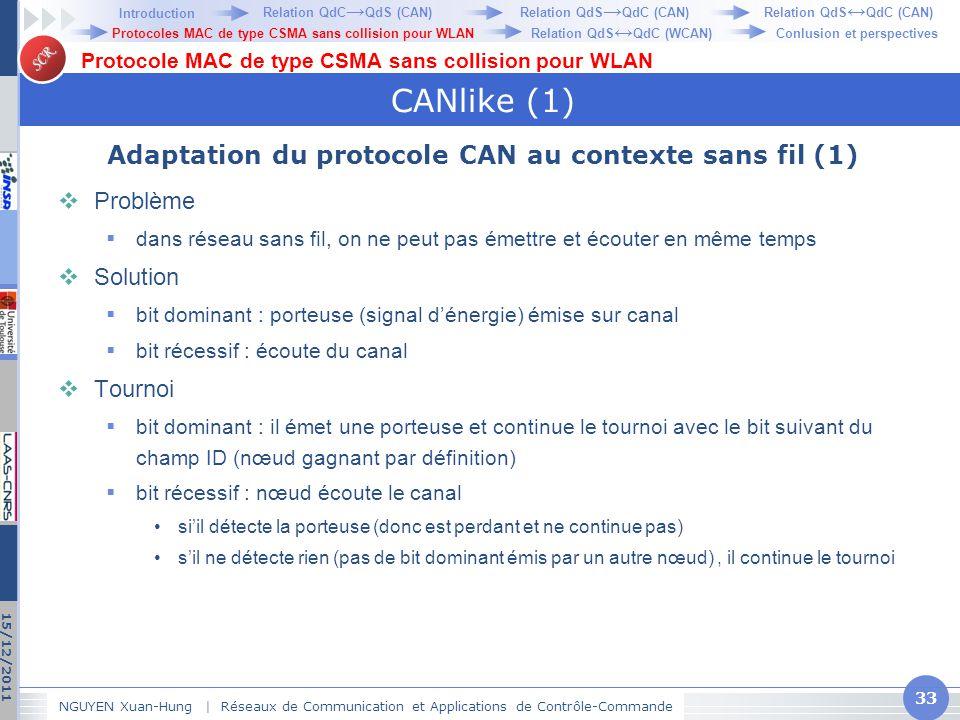 Adaptation du protocole CAN au contexte sans fil (1)