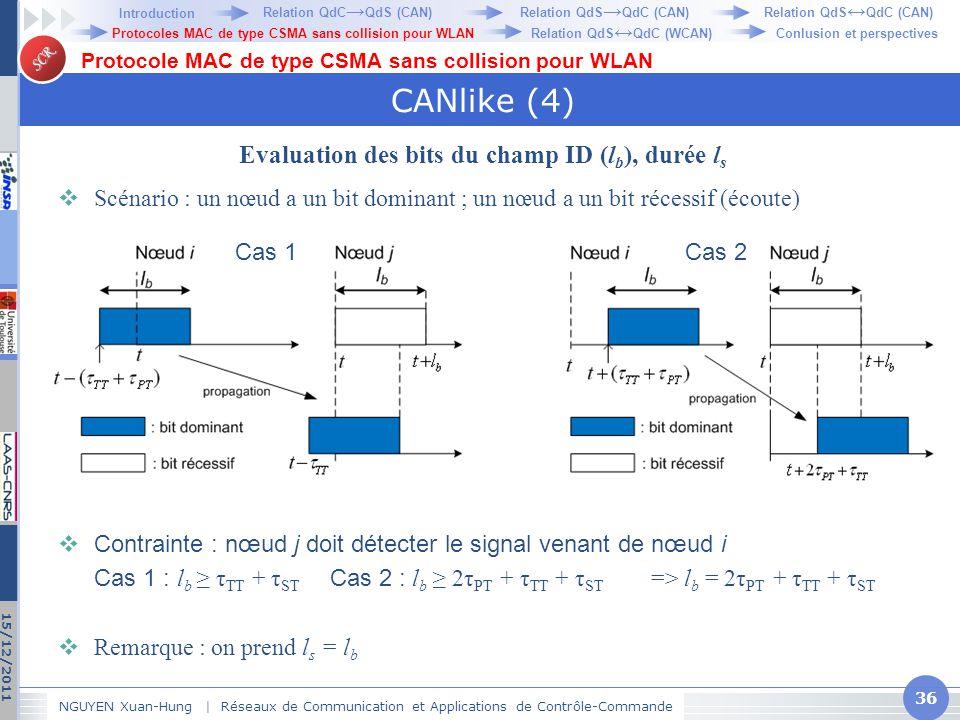 Evaluation des bits du champ ID (lb), durée ls