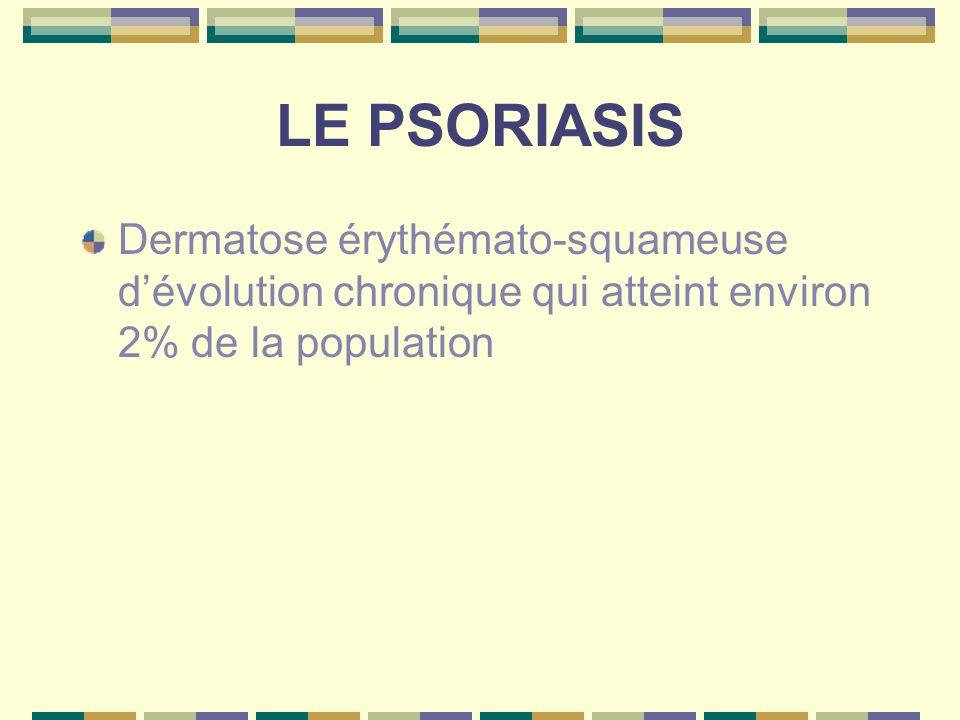 LE PSORIASISDermatose érythémato-squameuse d'évolution chronique qui atteint environ 2% de la population.