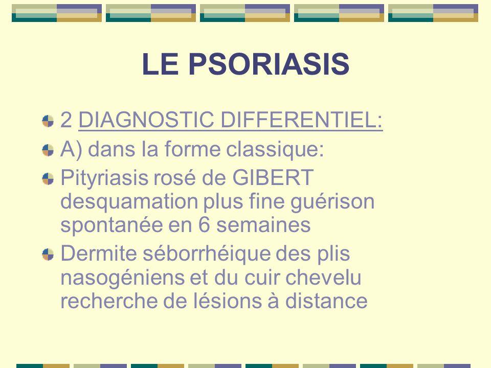 LE PSORIASIS 2 DIAGNOSTIC DIFFERENTIEL: A) dans la forme classique: