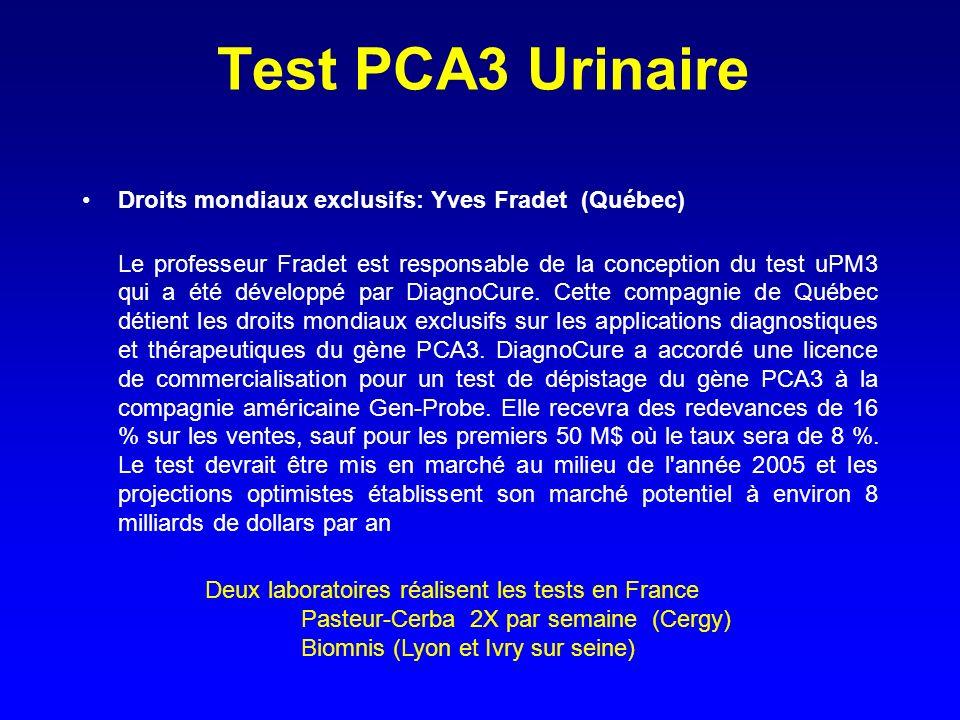 Test PCA3 Urinaire Droits mondiaux exclusifs: Yves Fradet (Québec)