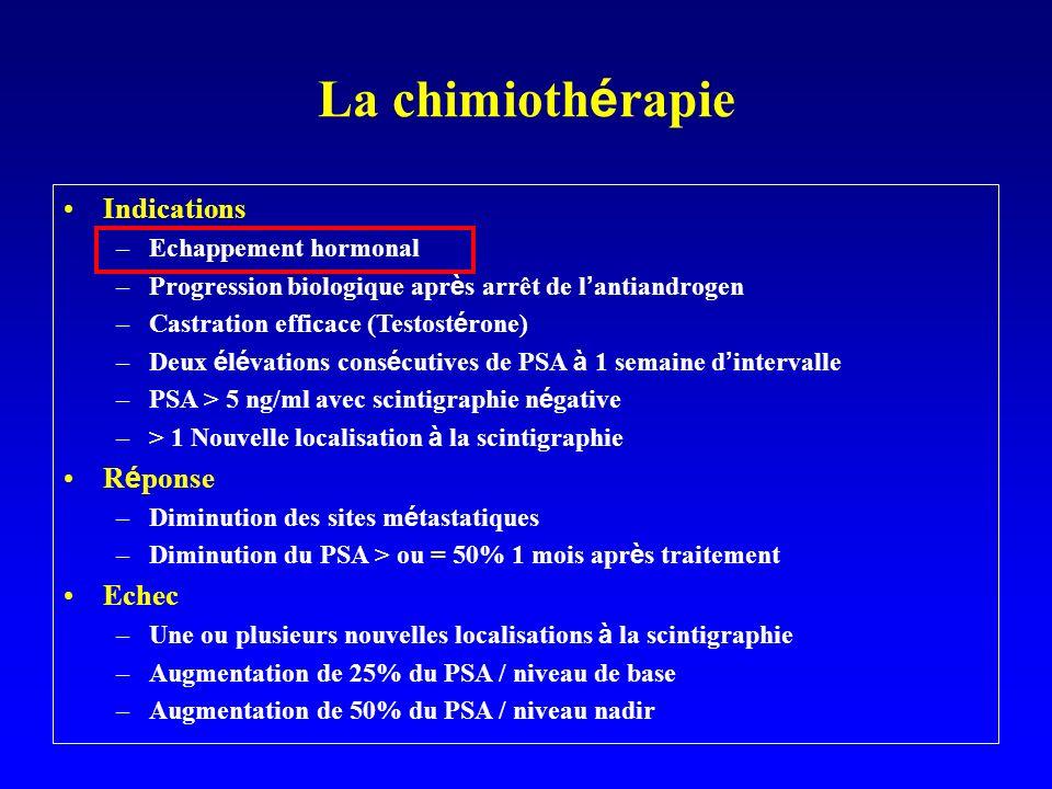 La chimiothérapie Indications Réponse Echec Echappement hormonal