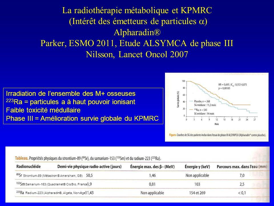 La radiothérapie métabolique et KPMRC (Intérêt des émetteurs de particules a) Alpharadin® Parker, ESMO 2011, Etude ALSYMCA de phase III Nilsson, Lancet Oncol 2007