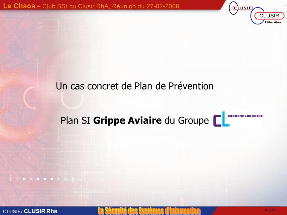 Un cas concret de Plan de Prévention Plan SI Grippe Aviaire du Groupe