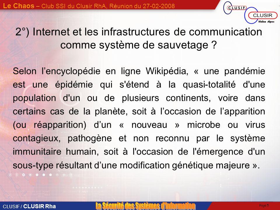 2°) Internet et les infrastructures de communication comme système de sauvetage