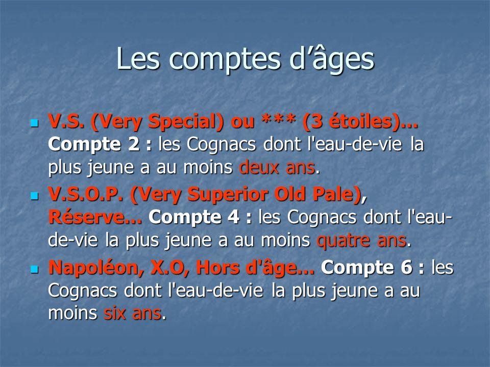 Les comptes d'âgesV.S. (Very Special) ou *** (3 étoiles)... Compte 2 : les Cognacs dont l eau-de-vie la plus jeune a au moins deux ans.