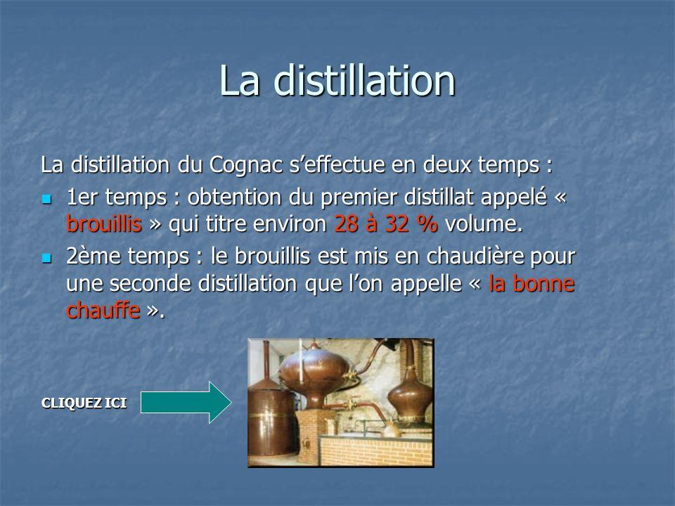 La distillation La distillation du Cognac s'effectue en deux temps :