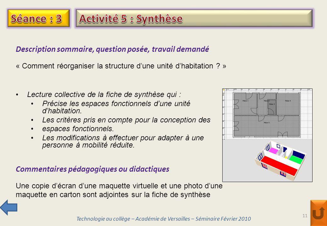 Séance : 3 Activité 5 : Synthèse