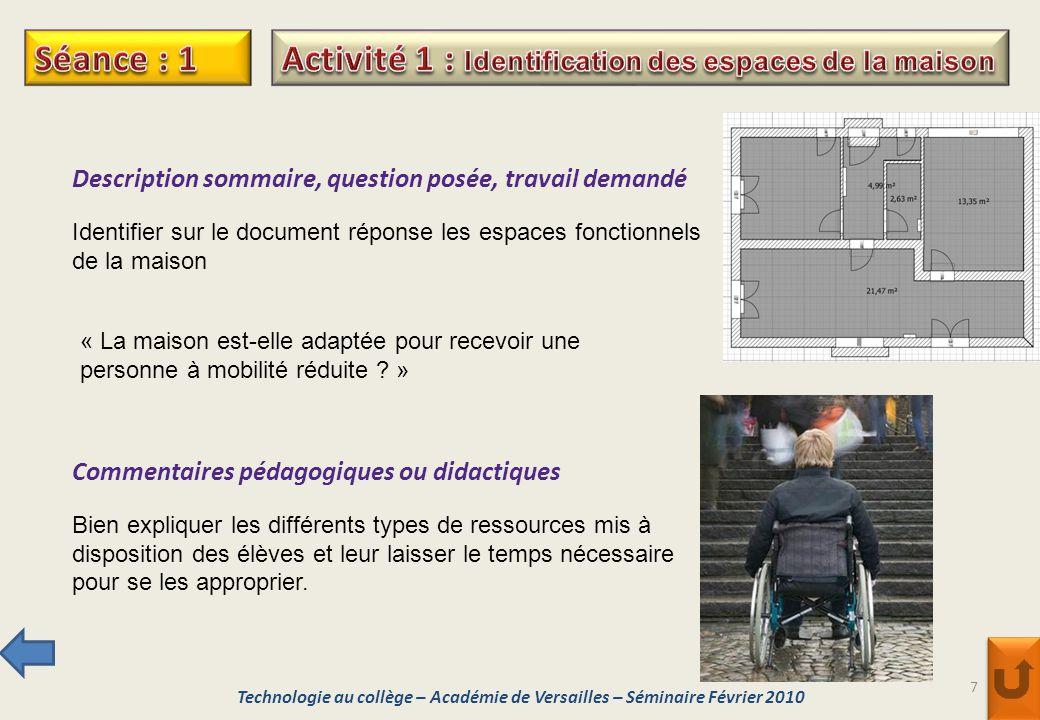 Activité 1 : Identification des espaces de la maison
