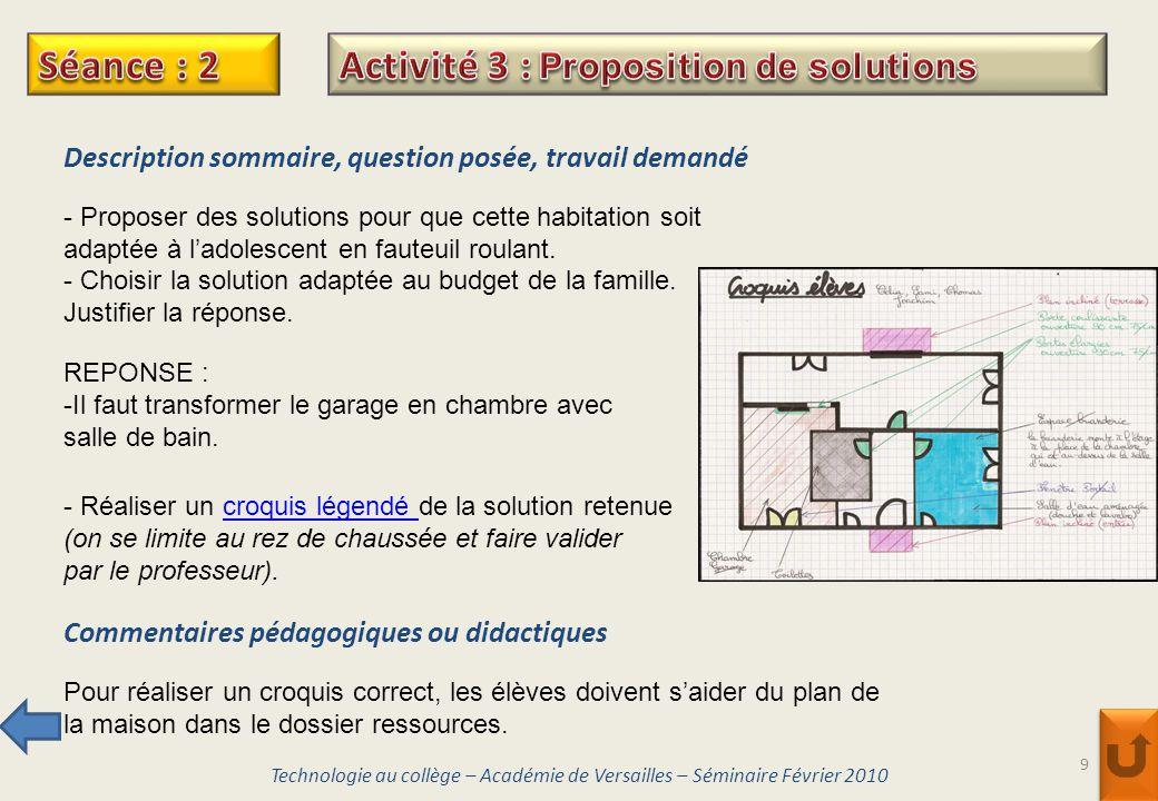 Activité 3 : Proposition de solutions