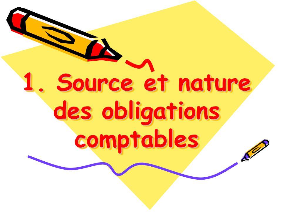 1. Source et nature des obligations comptables