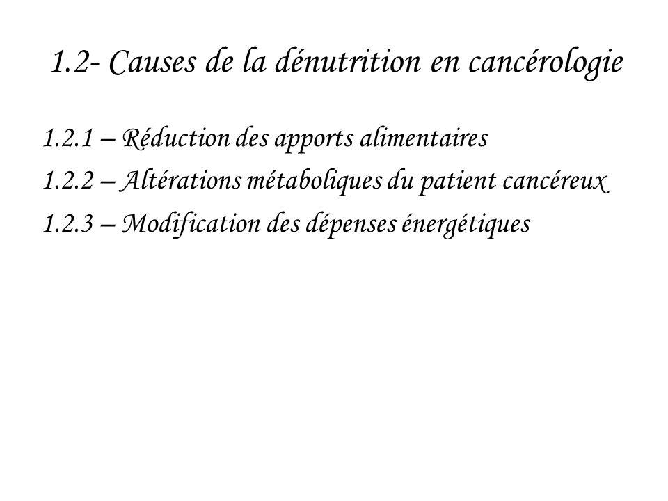 1.2- Causes de la dénutrition en cancérologie