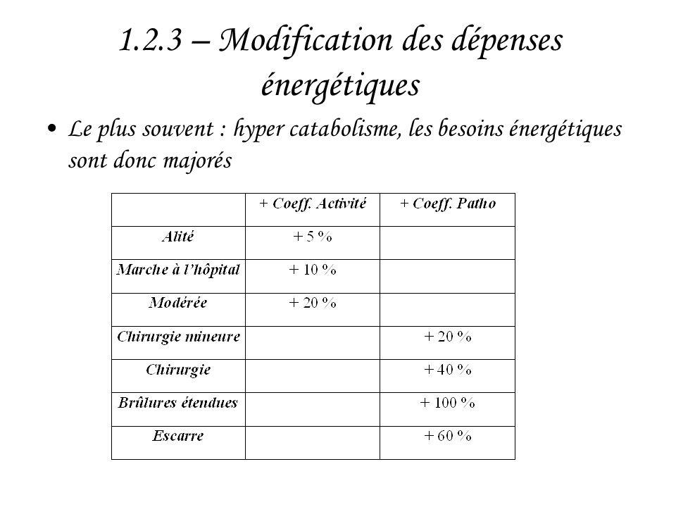 1.2.3 – Modification des dépenses énergétiques