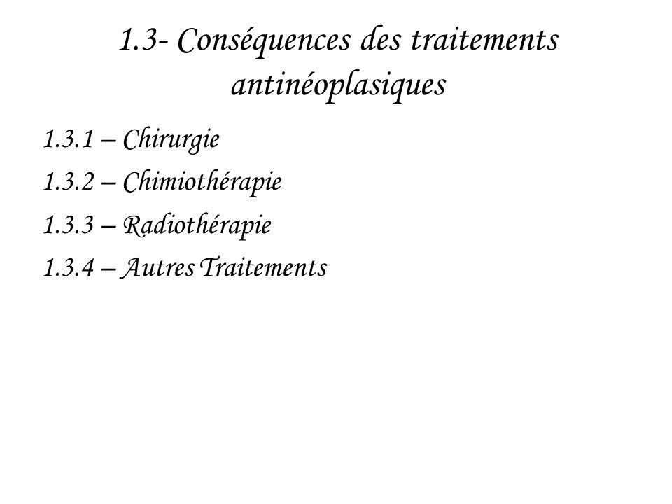 1.3- Conséquences des traitements antinéoplasiques