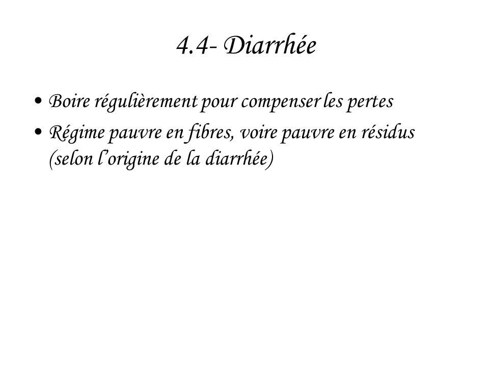 4.4- Diarrhée Boire régulièrement pour compenser les pertes