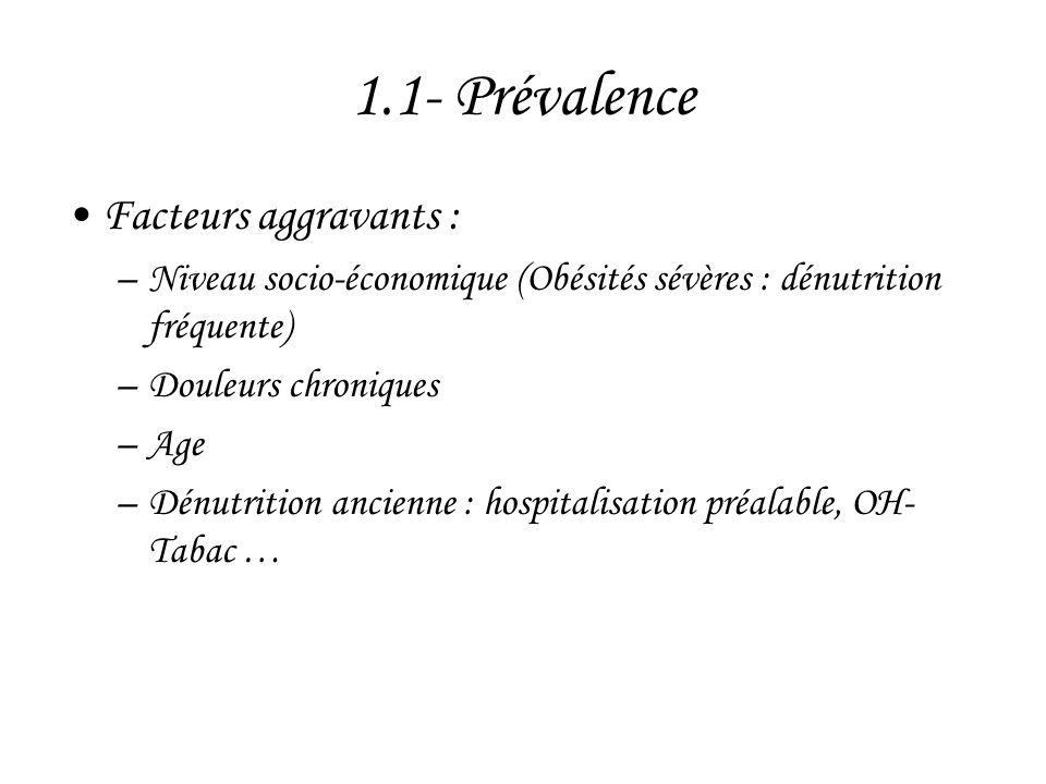 1.1- Prévalence Facteurs aggravants :