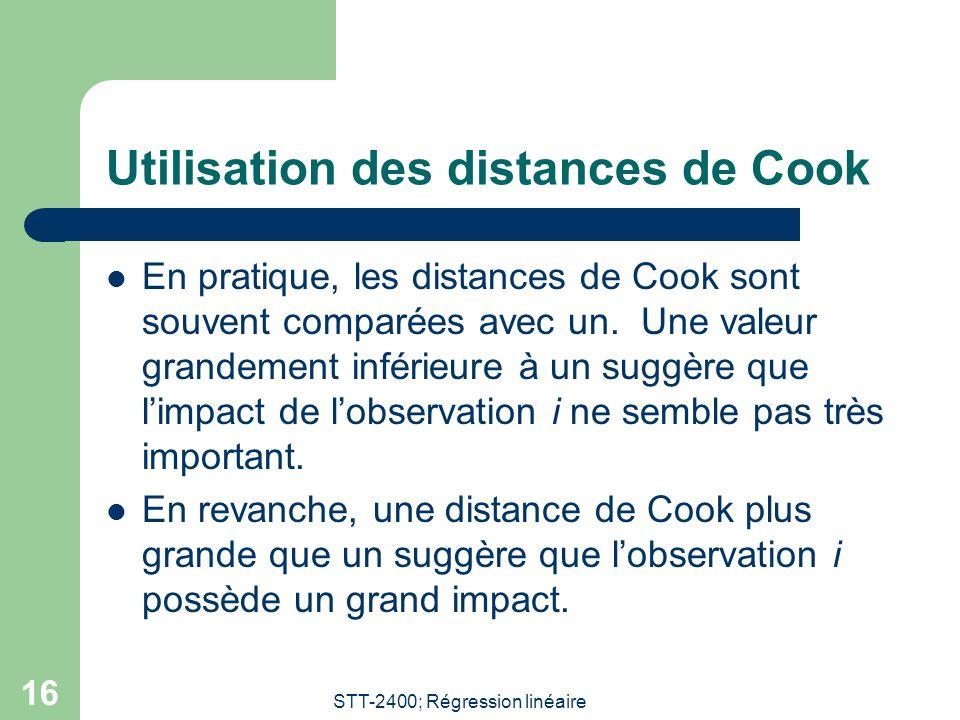 Utilisation des distances de Cook
