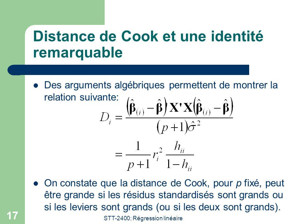 Distance de Cook et une identité remarquable