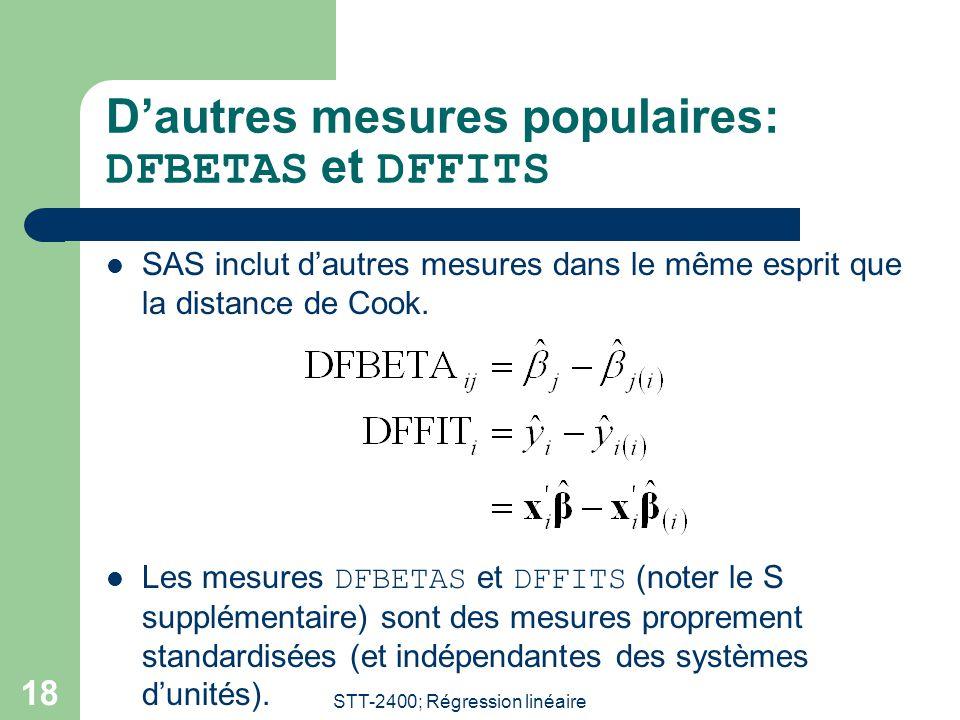 D'autres mesures populaires: DFBETAS et DFFITS