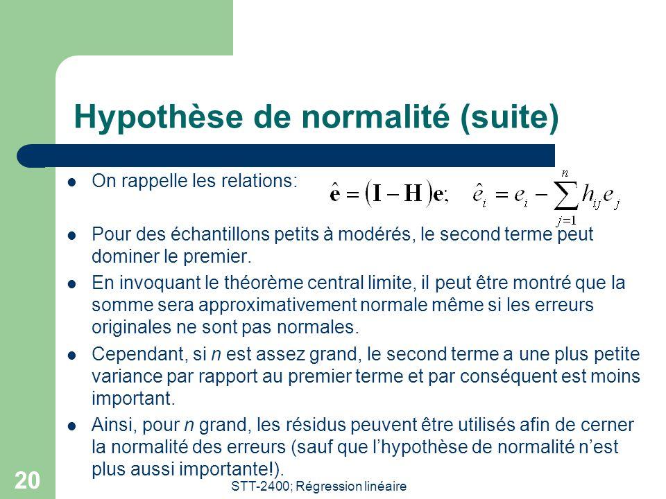 Hypothèse de normalité (suite)