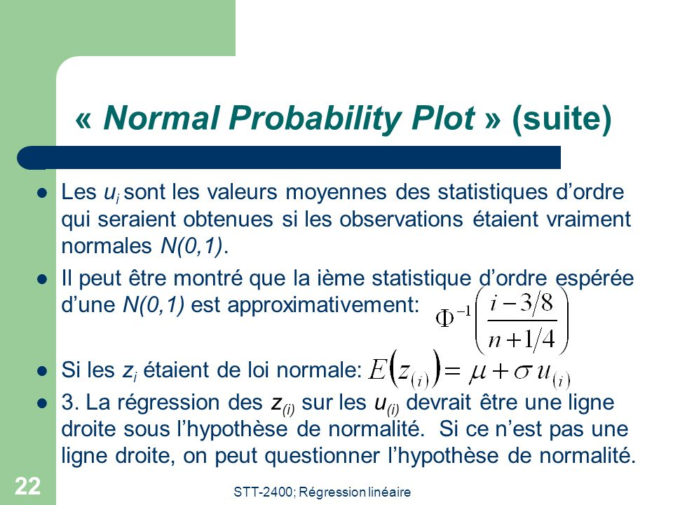 « Normal Probability Plot » (suite)