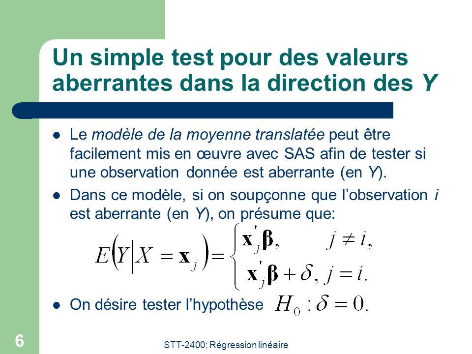 Un simple test pour des valeurs aberrantes dans la direction des Y