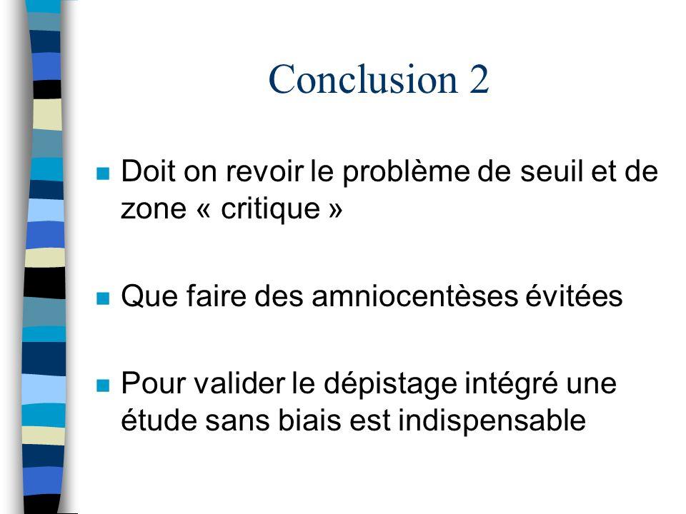 Conclusion 2Doit on revoir le problème de seuil et de zone « critique » Que faire des amniocentèses évitées.