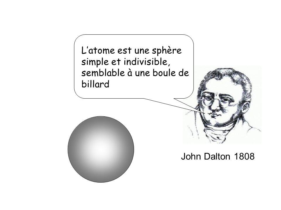 L'atome est une sphère simple et indivisible, semblable à une boule de billard