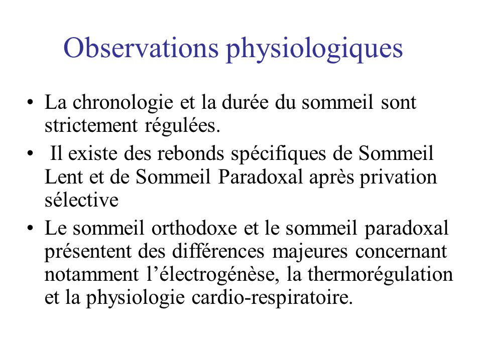 Observations physiologiques