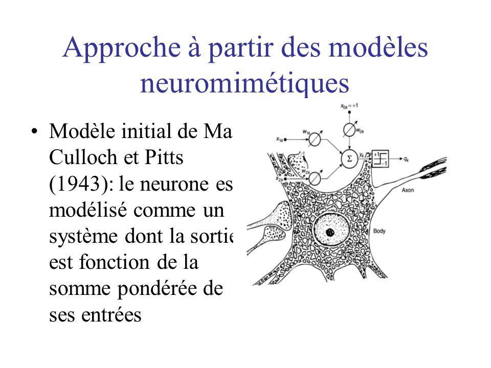Approche à partir des modèles neuromimétiques
