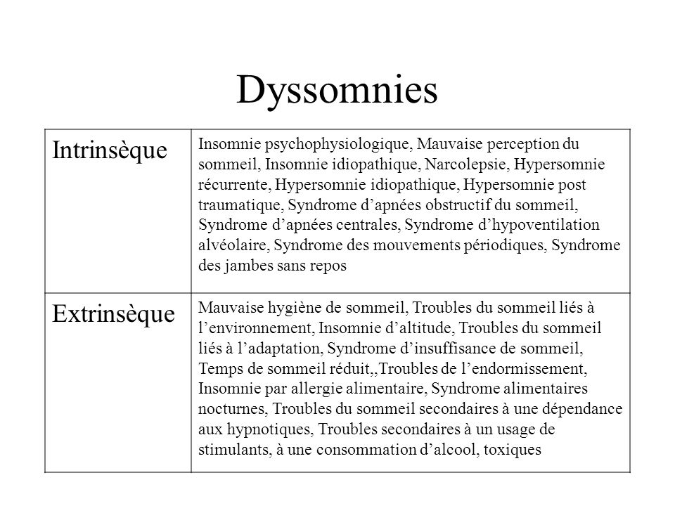 Dyssomnies Intrinsèque Extrinsèque
