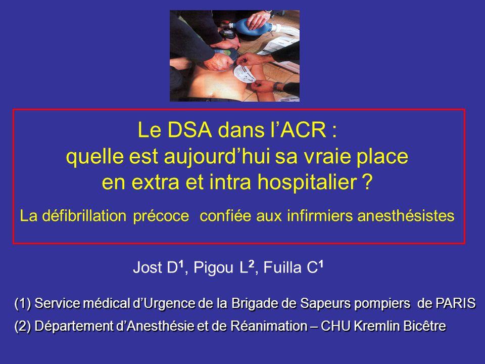 Le DSA dans l'ACR : quelle est aujourd'hui sa vraie place en extra et intra hospitalier La défibrillation précoce confiée aux infirmiers anesthésistes