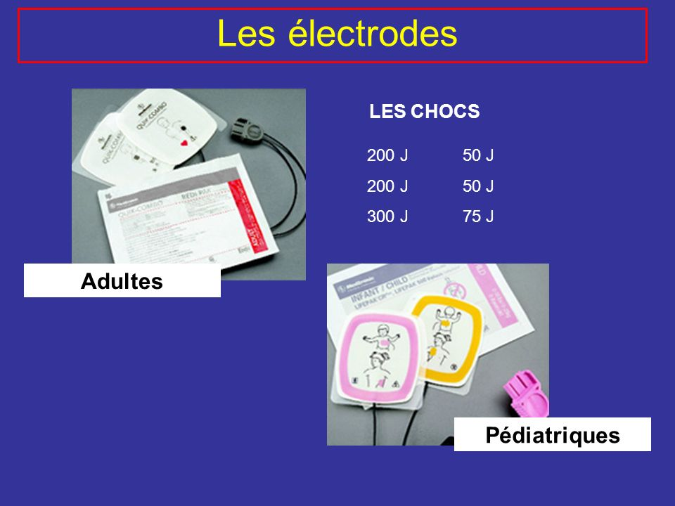 Les électrodes Adultes Pédiatriques LES CHOCS 200 J 300 J 50 J 75 J
