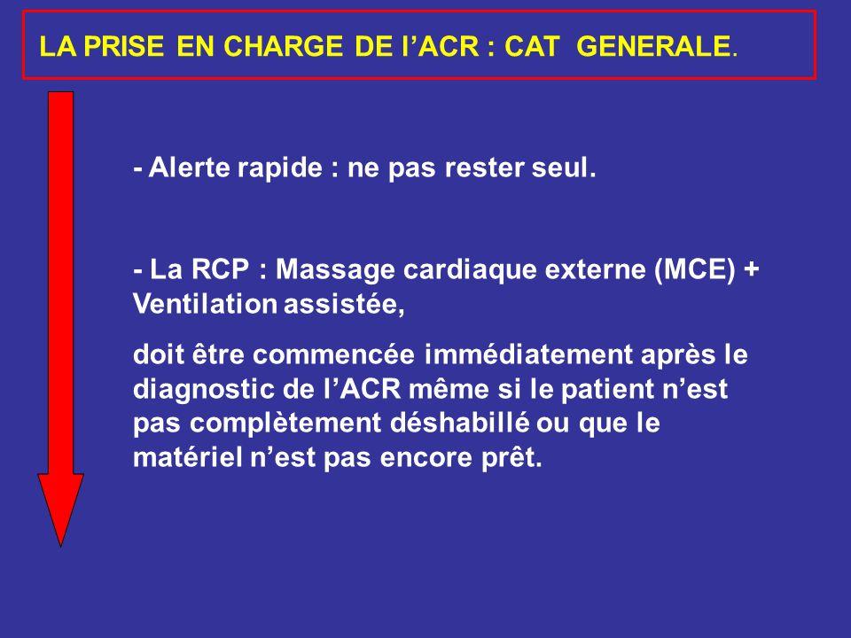 LA PRISE EN CHARGE DE l'ACR : CAT GENERALE.