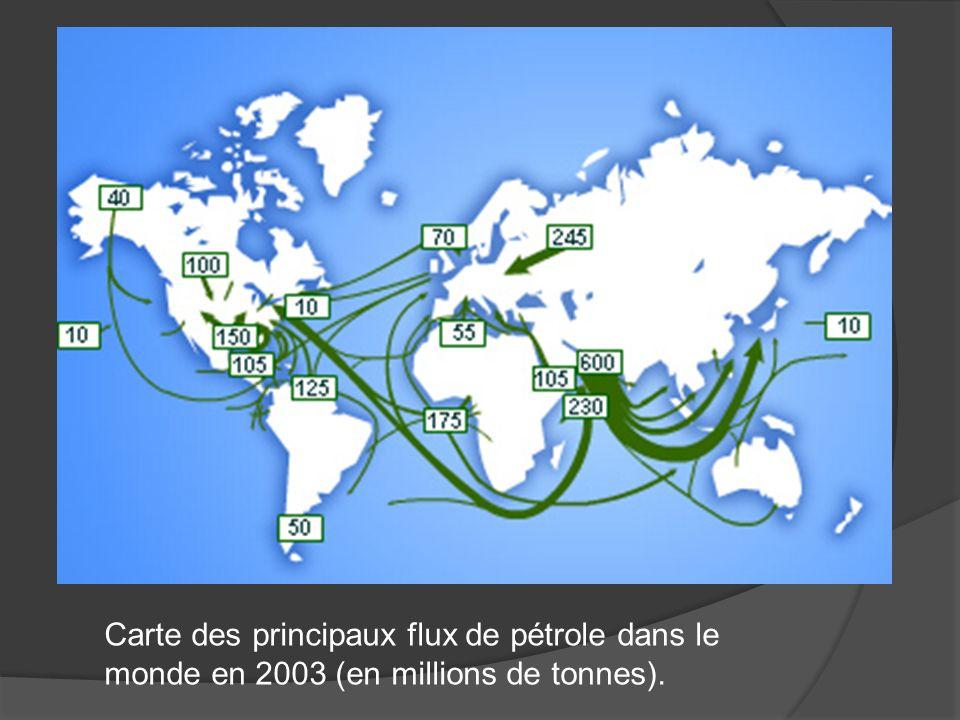 Carte des principaux flux de pétrole dans le monde en 2003 (en millions de tonnes).