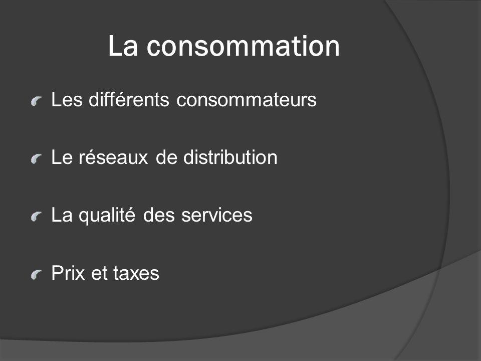 La consommation Les différents consommateurs