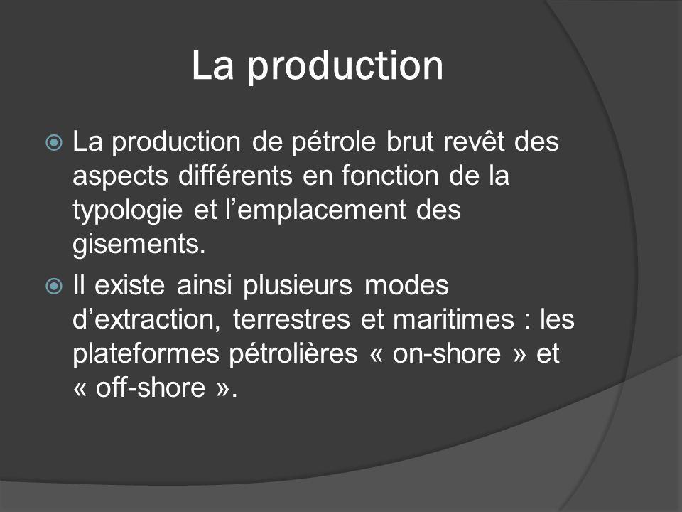 La production La production de pétrole brut revêt des aspects différents en fonction de la typologie et l'emplacement des gisements.