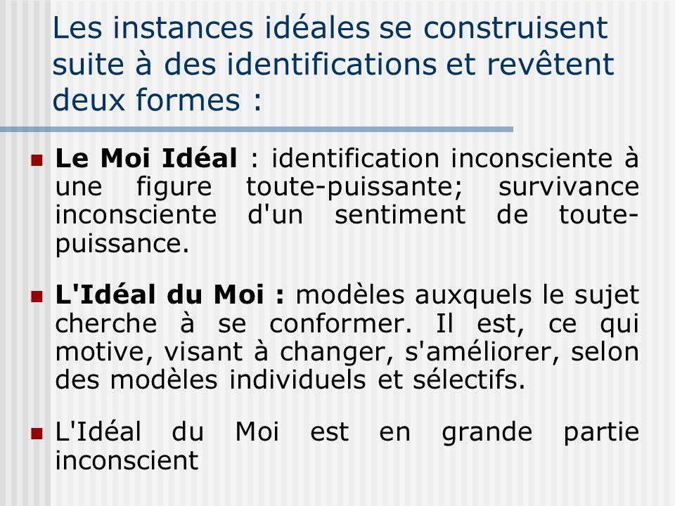 Les instances idéales se construisent suite à des identifications et revêtent deux formes :