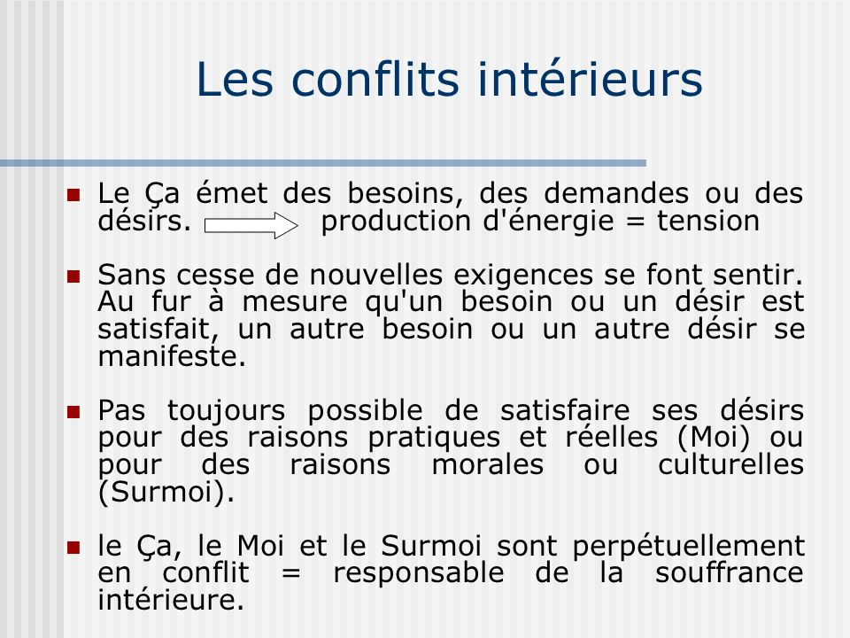 Les conflits intérieurs