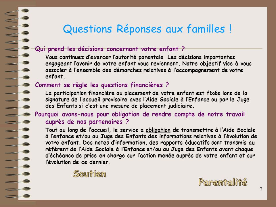 Questions Réponses aux familles !