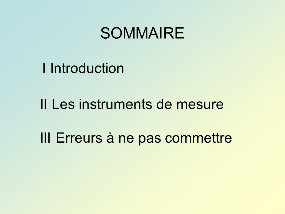 SOMMAIRE I Introduction II Les instruments de mesure