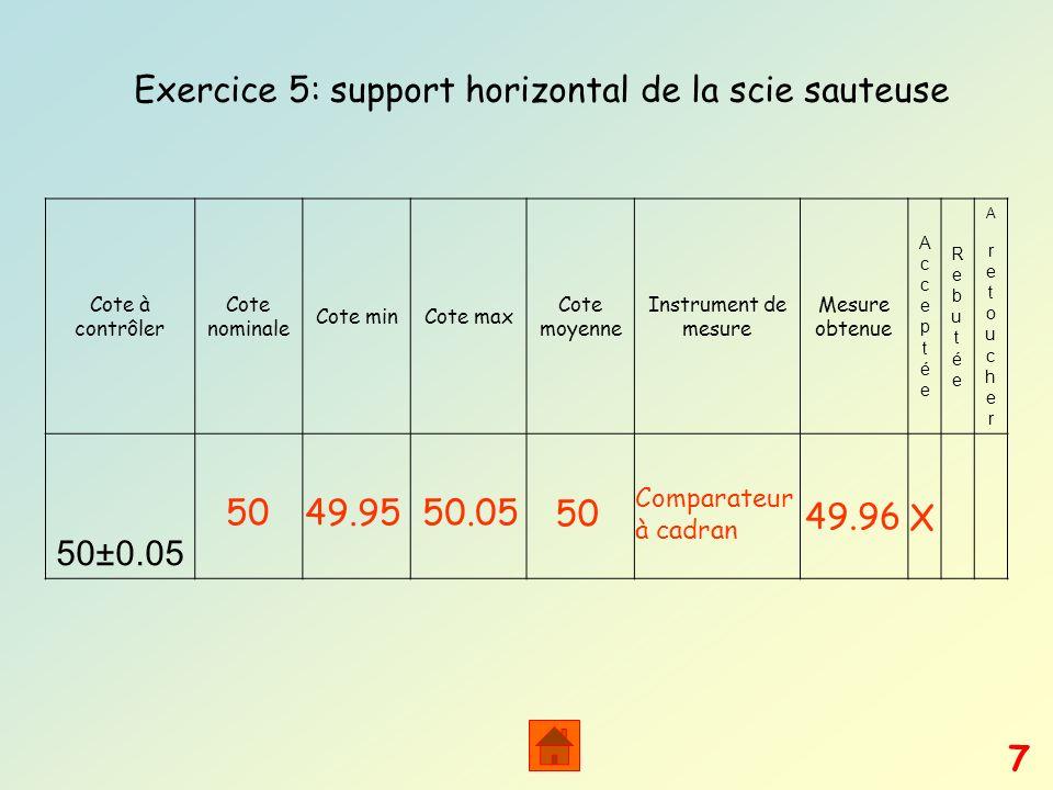Exercice 5: support horizontal de la scie sauteuse