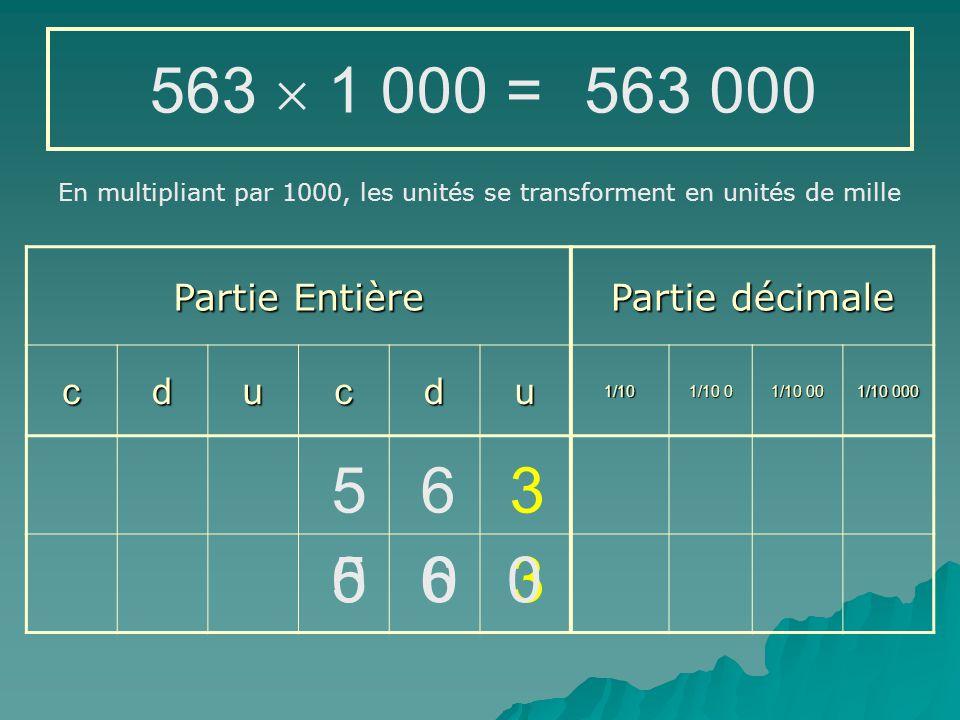 563  1 000 = 563 000 5 6 3 5 6 3 Partie Entière Partie décimale c d u
