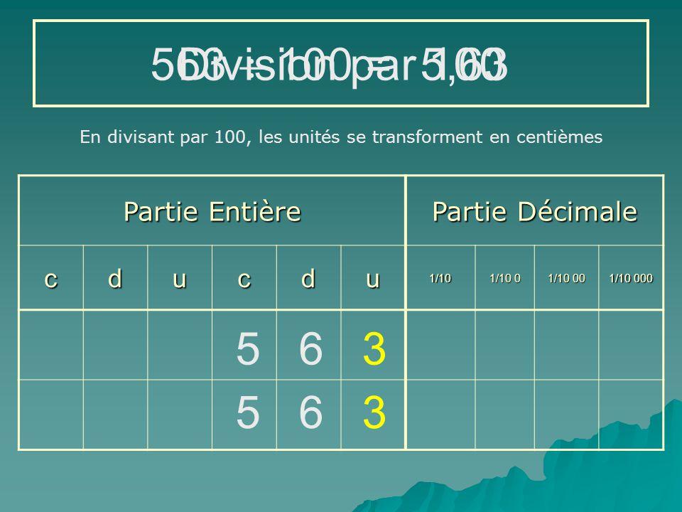 563  100 = Division par 100 5,63 5 6 3 5 6 3 Partie Entière