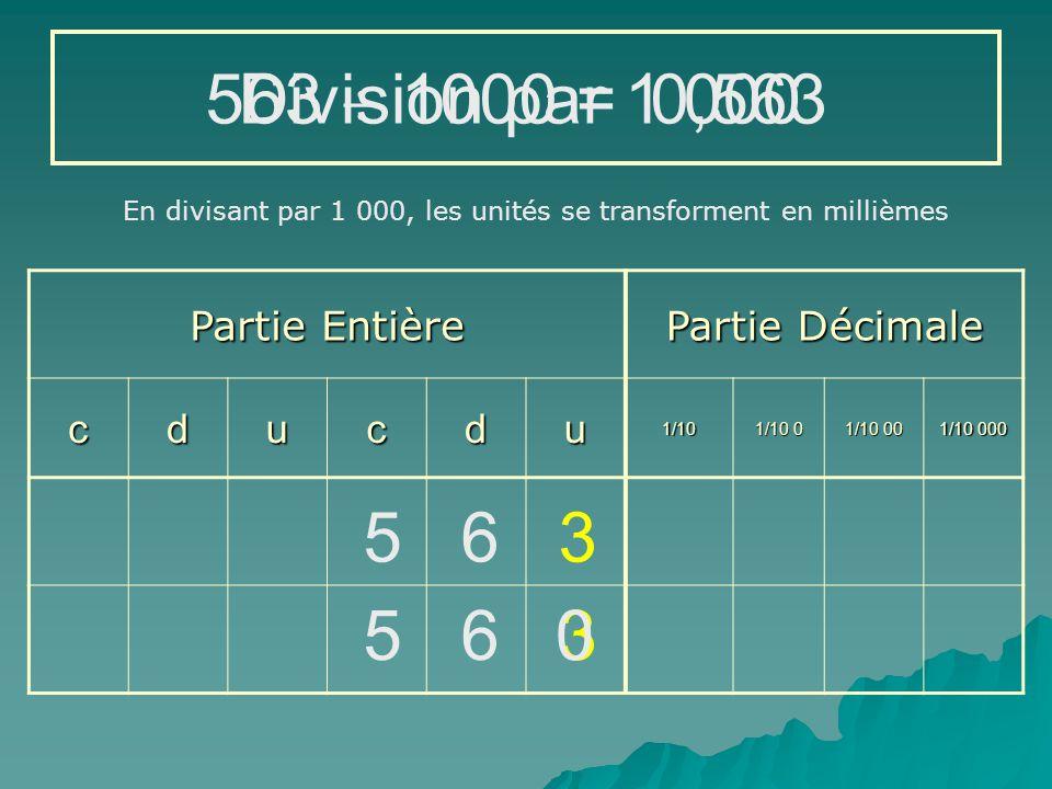563  1000 = Division par 1 000 0,563 5 6 3 5 6 3 Partie Entière