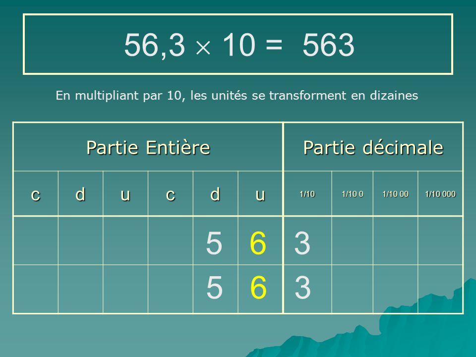 56,3  10 = 563 5 6 3 5 6 3 Partie Entière Partie décimale c d u